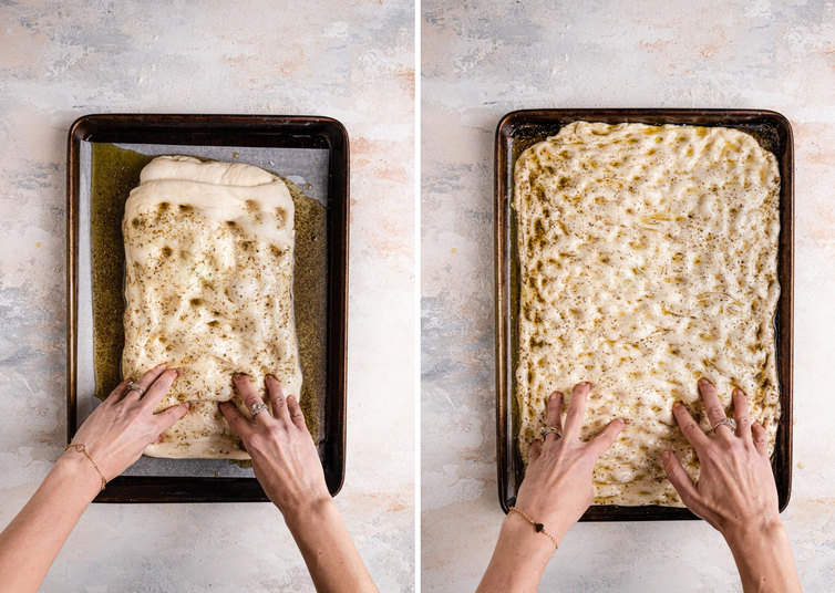 Side by side photos of hands putting dimples into a lined baking sheet.