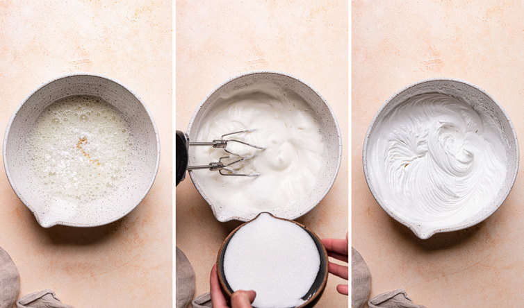Step by step photos of how to make meringue cookies in a bowl.