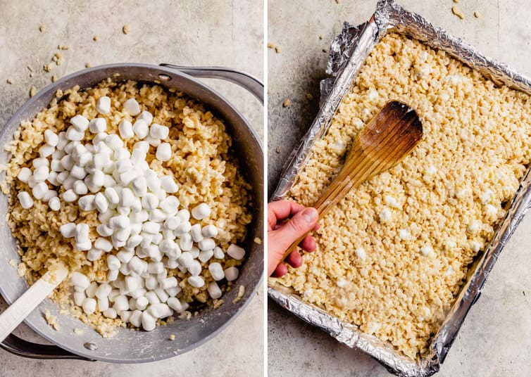 Side by side photos of rice krispie treats being made with a stockpot on the left topped with marshmallows and a baking pan on the right with pressed treats and a wooden spoon.