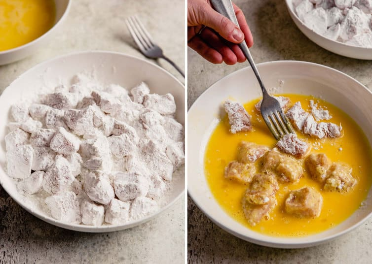Side by side photos of battering the chicken first with cornstarch then with the egg.