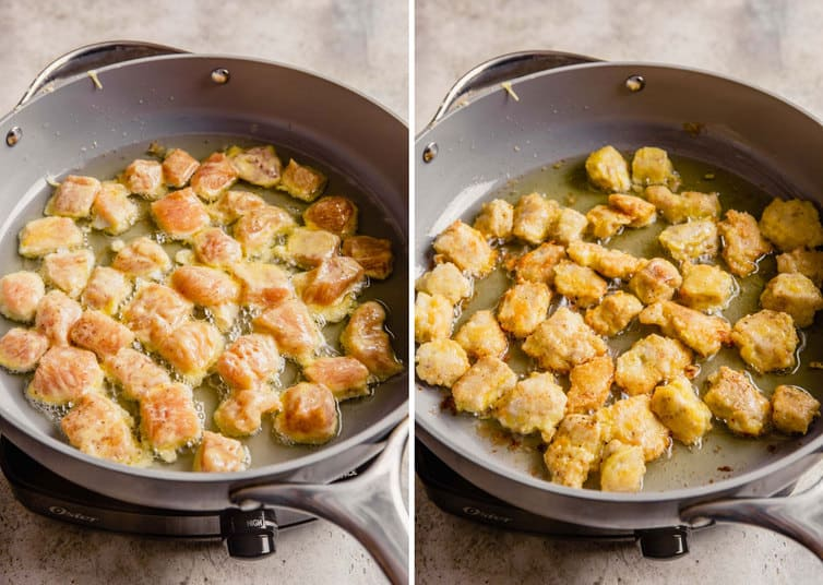 Side by side photos of pan-frying the chicken for sweet and sour chicken in a non-stick skillet.