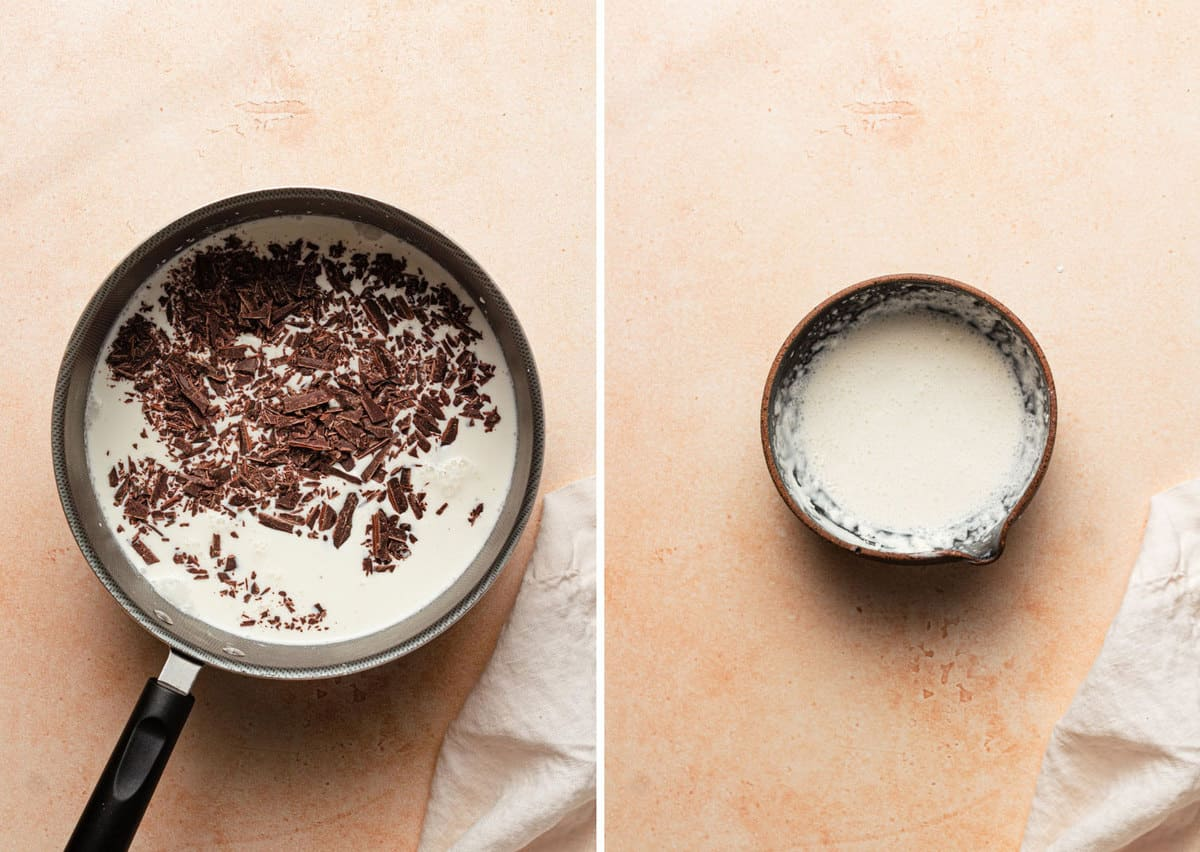 Two side by side photos on the left the chocolate melting into the milk mixture in a saucepan and on the right a bowl with the cornstarch slurry.