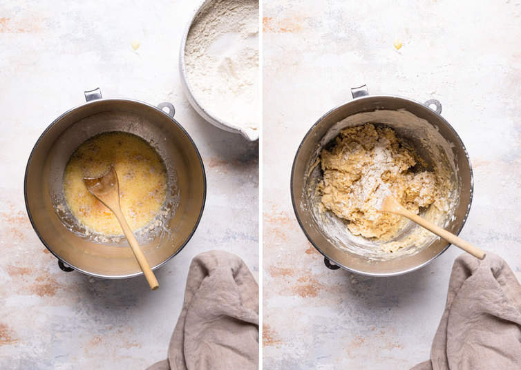 Ingredients for dough on the left in a silver bowl and dough loosely mixed together on the right in a silver bowl.