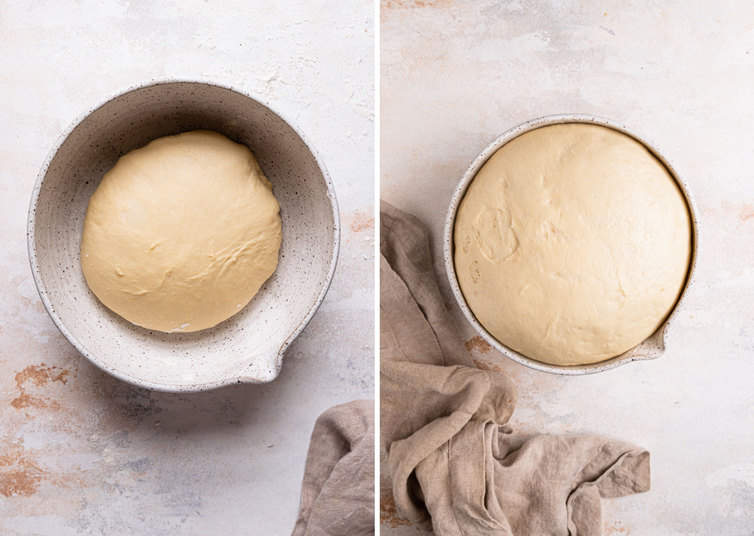 Two side by side photos of the dough for cinnamon rolls in a white bowl.