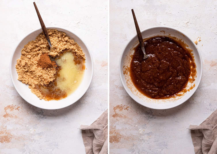 Two side by side photos of making the cinnamon sugar filling in a white bowl with a spoon.