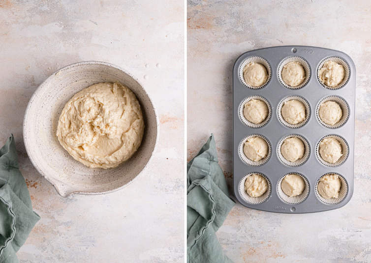 A photo on the left of cake batter in a bowl and a photo on the right of the cupcake tin with liners filled with coconut cupcake batter.