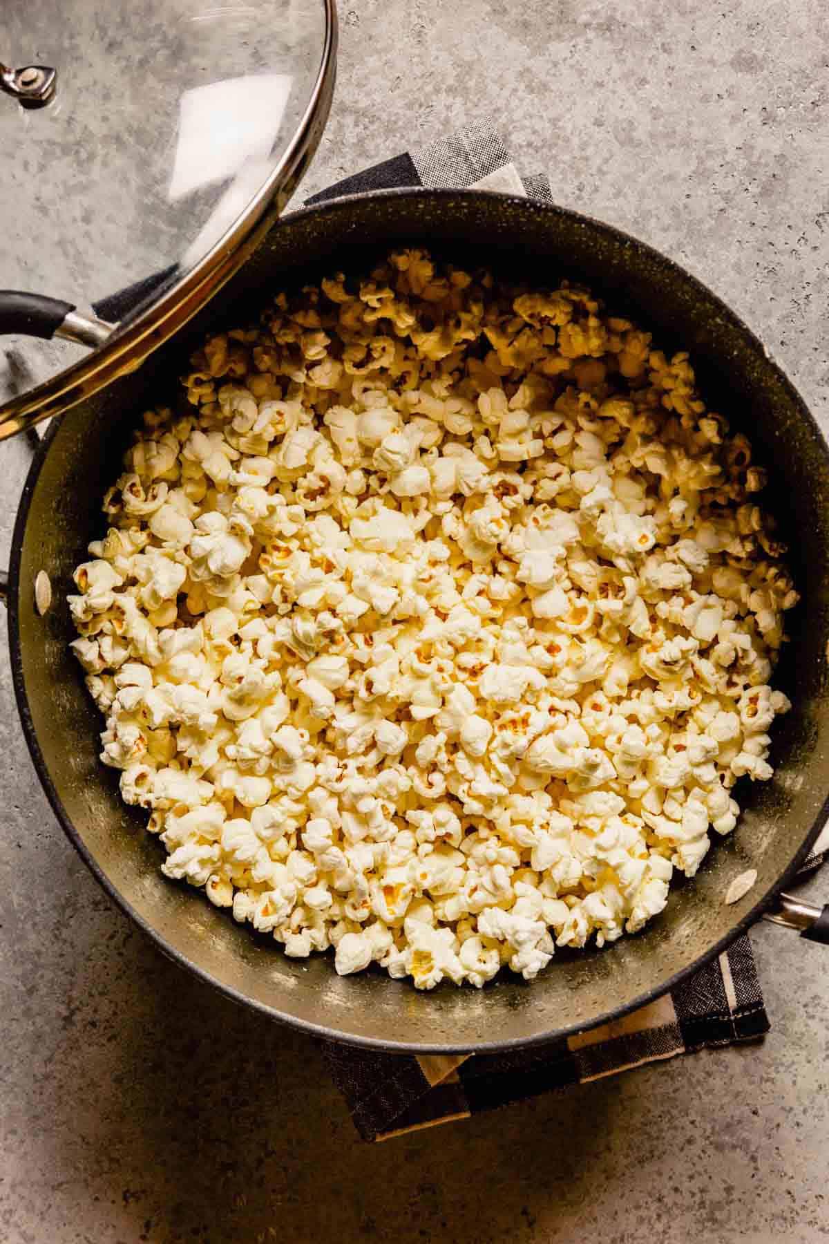 Pot full of popped popcorn.