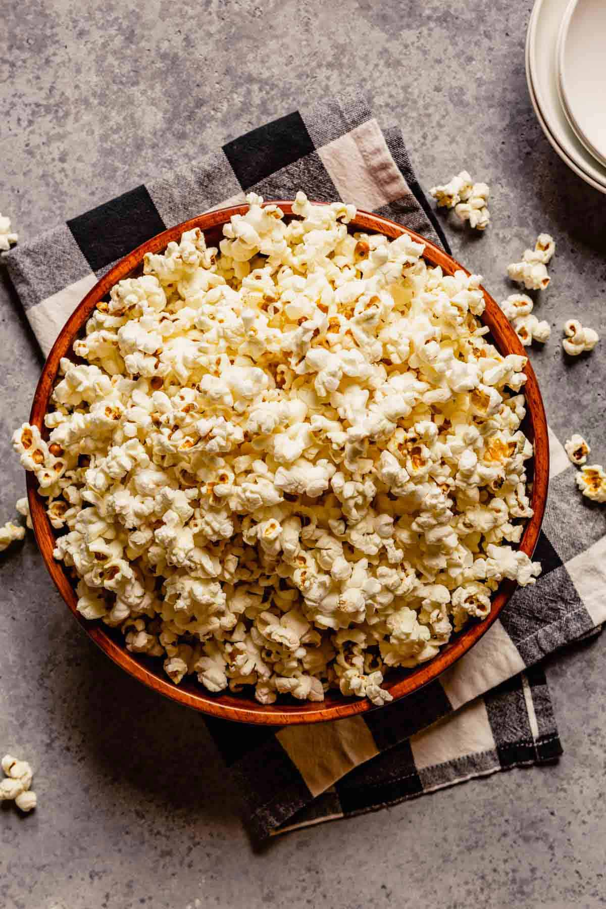 Overhead photo of popcorn in a bowl.