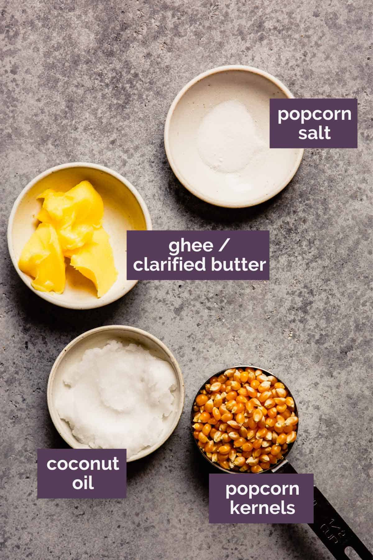 Ingredients for homemade popcorn prepped and labeled.