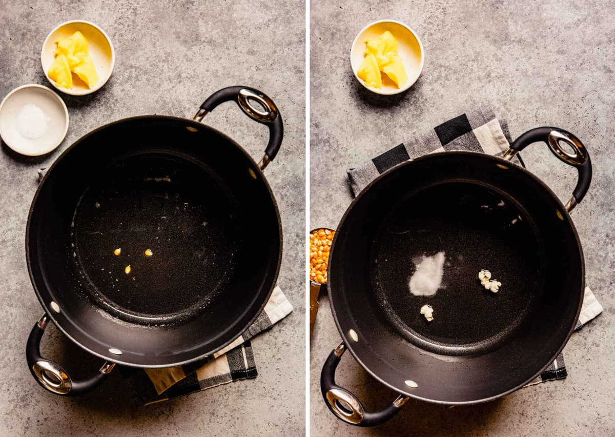 Photos of melted oil and popcorn kernels in a pot.