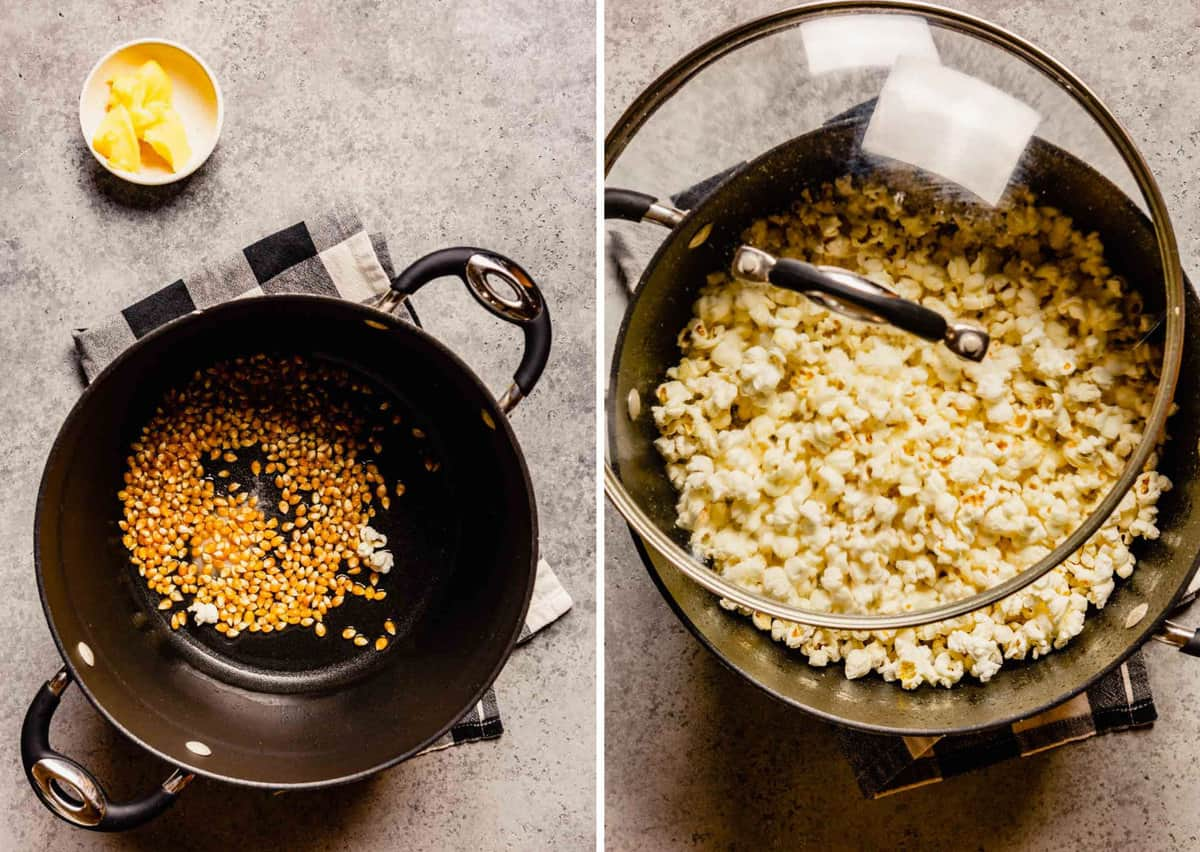 Side by side photos of popcorn kernels in the bottom of a pot and then fully popped.
