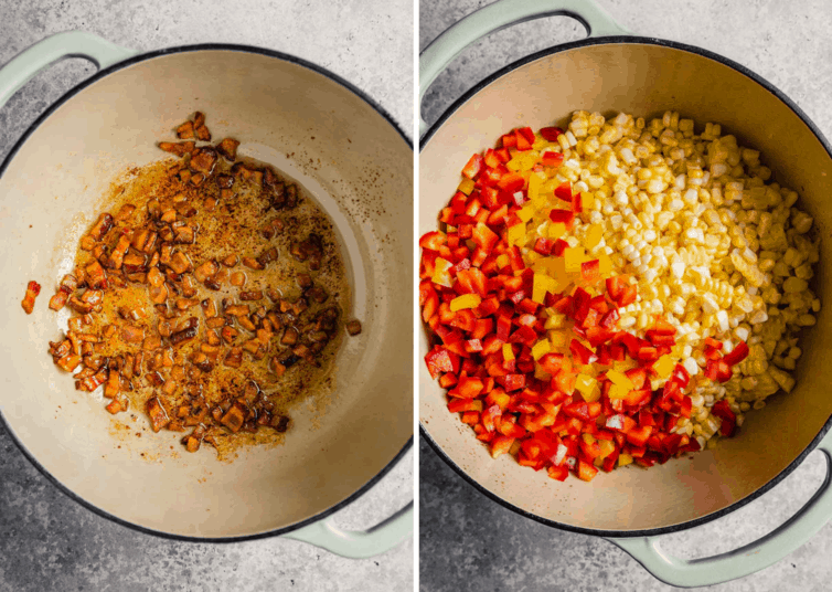 Side by side photos of Mexican corn salad cooking in a dutch oven.