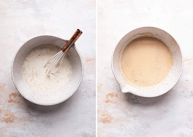 Side by side photos of the paska bread dough in a white bowl, on the left a whisk mixes the ingredients and on the right the yeast activates in the bowl.