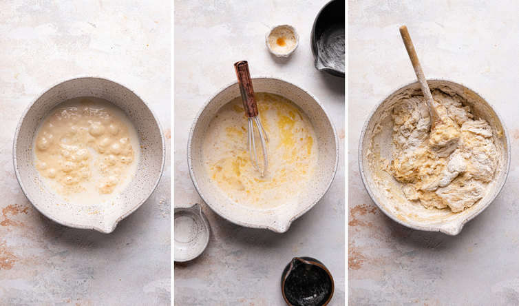 Three side by side photos of the steps to make the dough for paska bread. of the