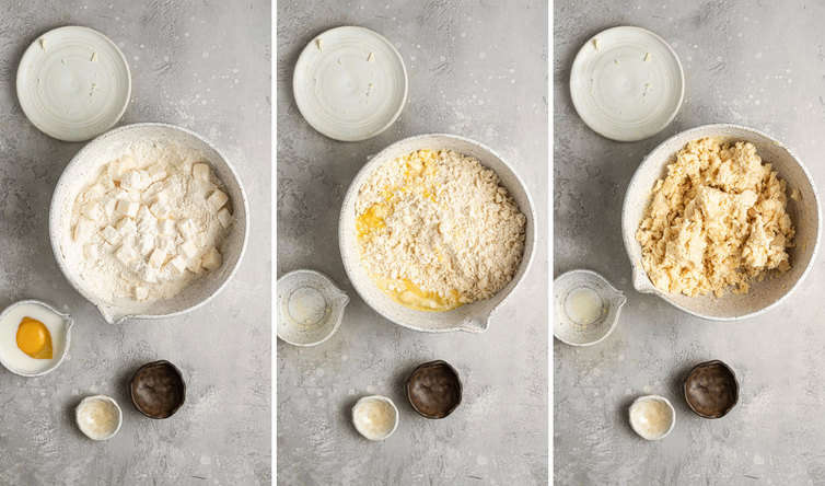 Three side by side photos of the steps to make the pastry dough.