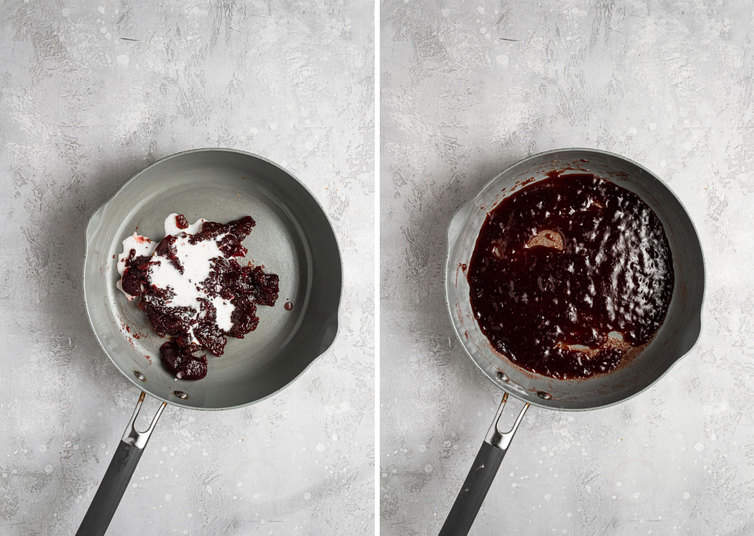 Two side by side photos of the steps to make the strawberry filling.