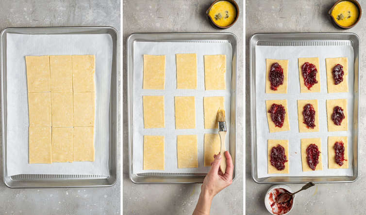 Three side by side photos of how to roll, cut, and fill homemade pop tarts on a lined baking sheet.