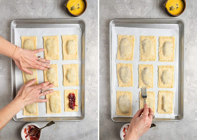Two side by side photos of how to top and press homemade pop tarts on a baking sheet.
