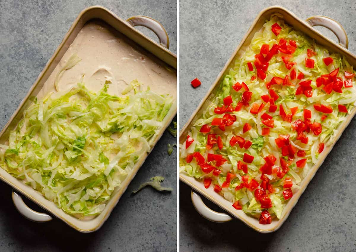 Side by side photo of toppings being added to the taco dip in a casserole pan.