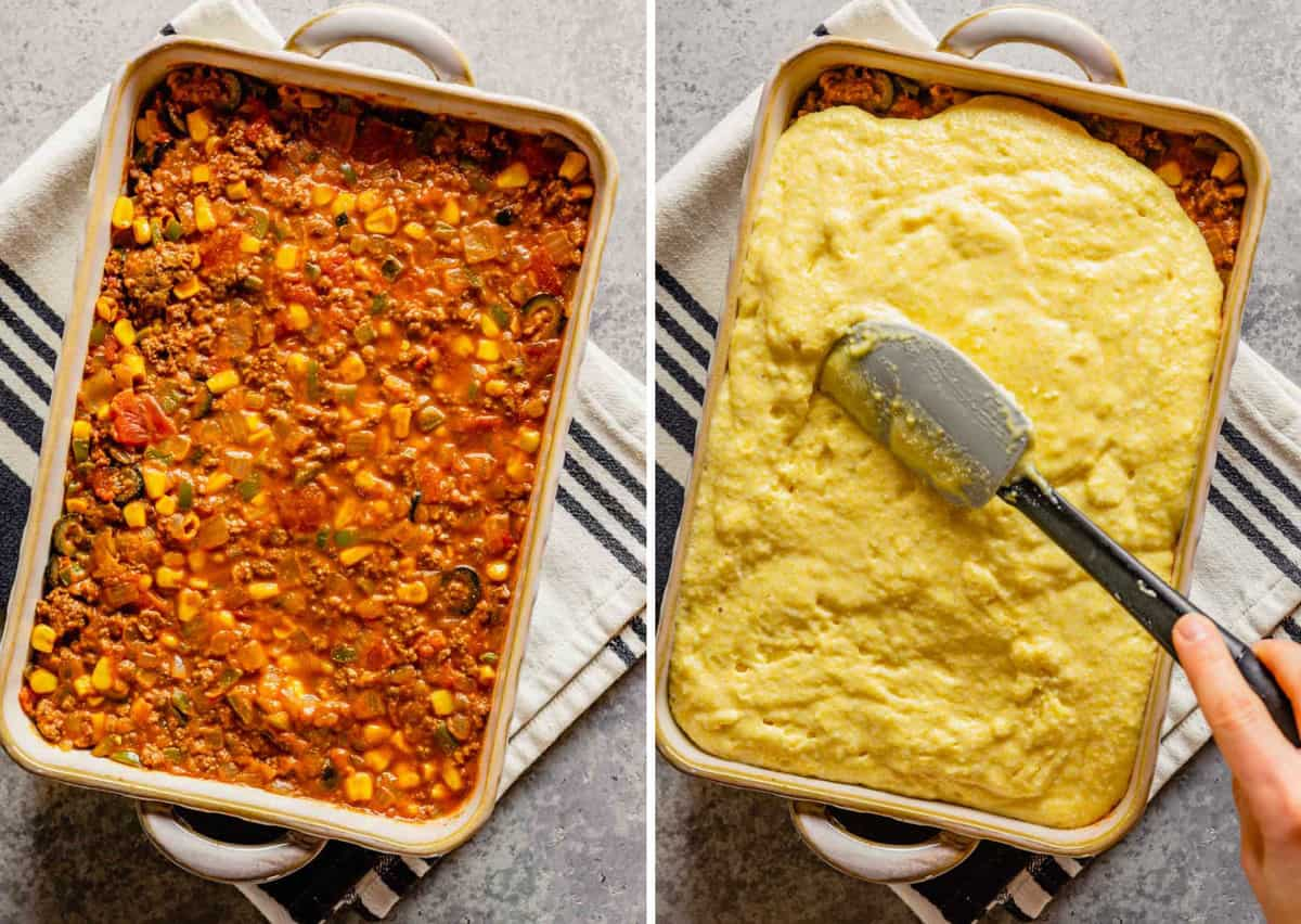 Side by side photos of a casserole dish with the meat filling on the left and the cornbread topping on the right.