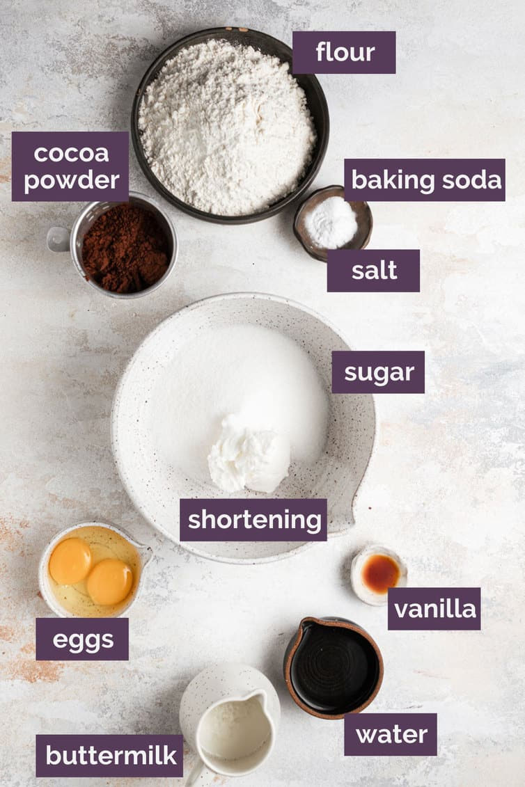 Ingredients for whoopie pies in bowls with purple labels.
