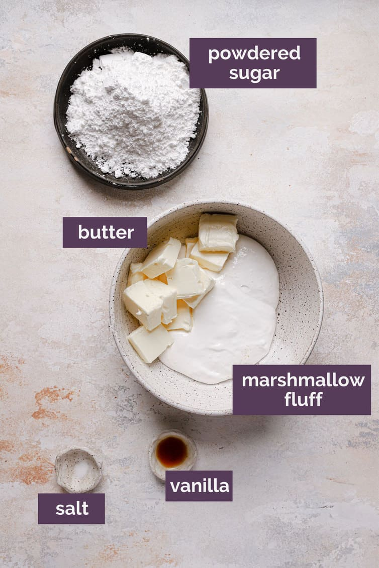 Ingredients for marshmallow fluff filling in bowls with purple labels.