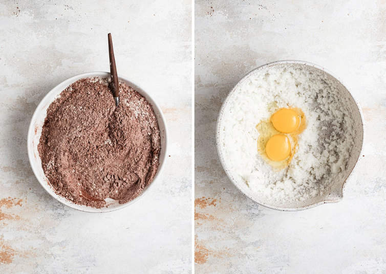 Side by side photos of the dry ingredients on the left and wet ingredients on the right.