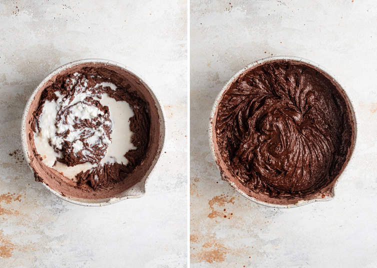 Side by side photos of whoopie pie cookie batter adding liquids and fully mixed whoopie pie batter.
