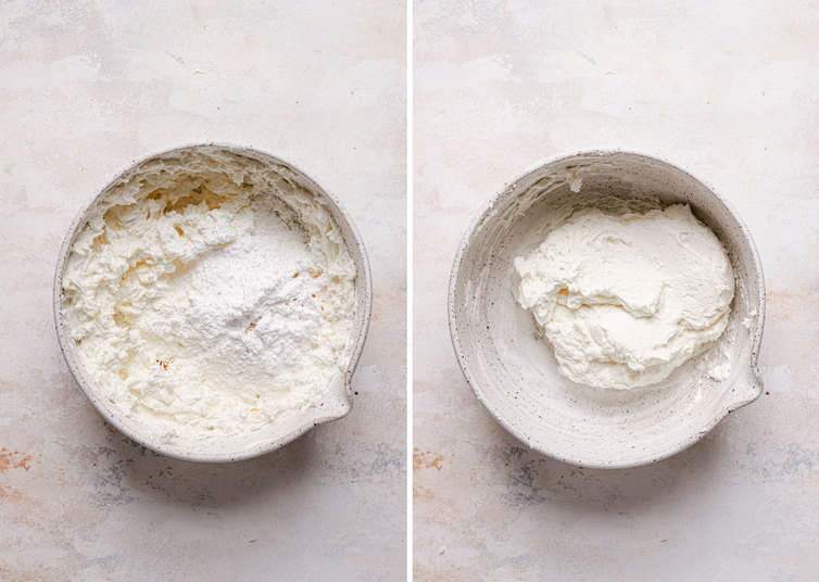 Side by side photos of white bowls with whoopie pie marshmallow fluff filling.