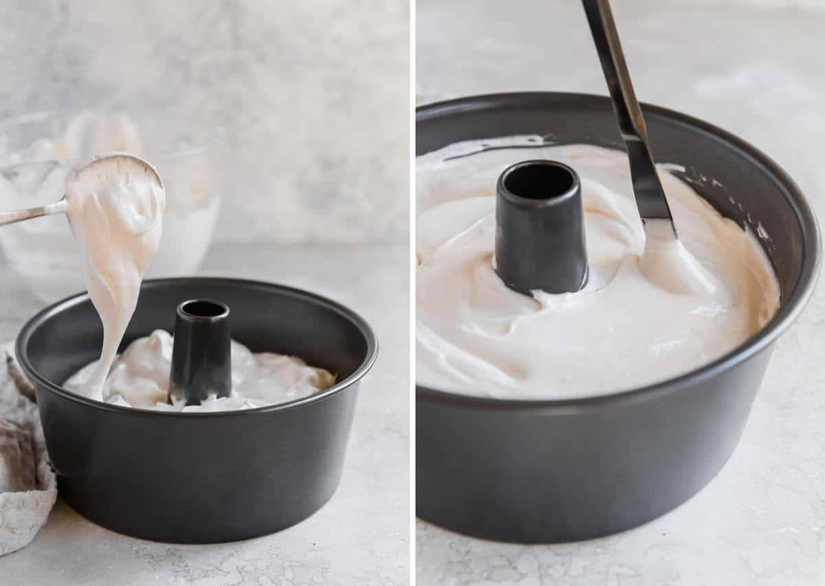 Photo of angel food cake batter being spooned into tube pan. Butter knife going through batter in pan.