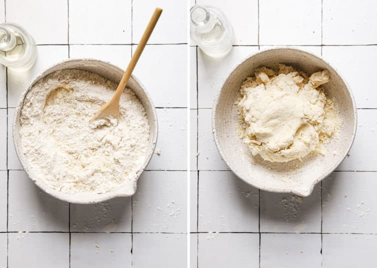 Two side by side photos of white bowls on the left a flour mixture with a spoon and on the right the cannoli shell dough.