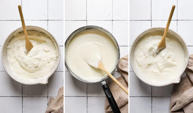 Three side by side photos of the steps for making the ricotta filling.
