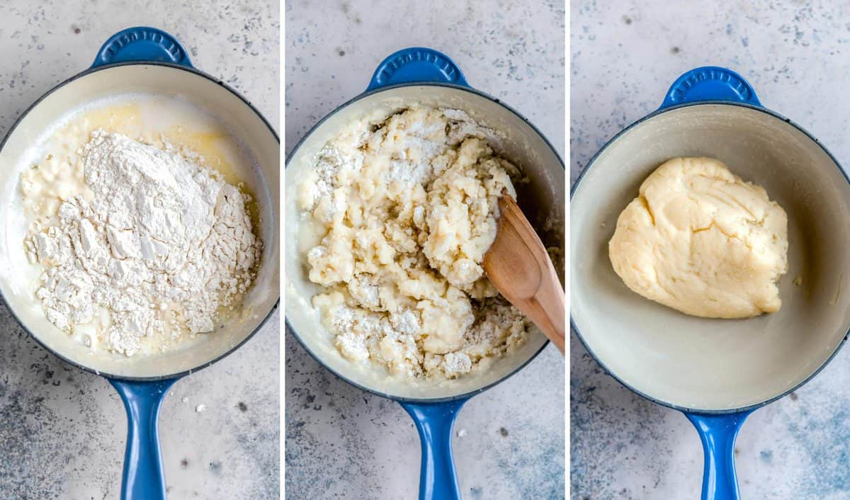 Three side by side photos of the process of making churro dough in a blue skillet.