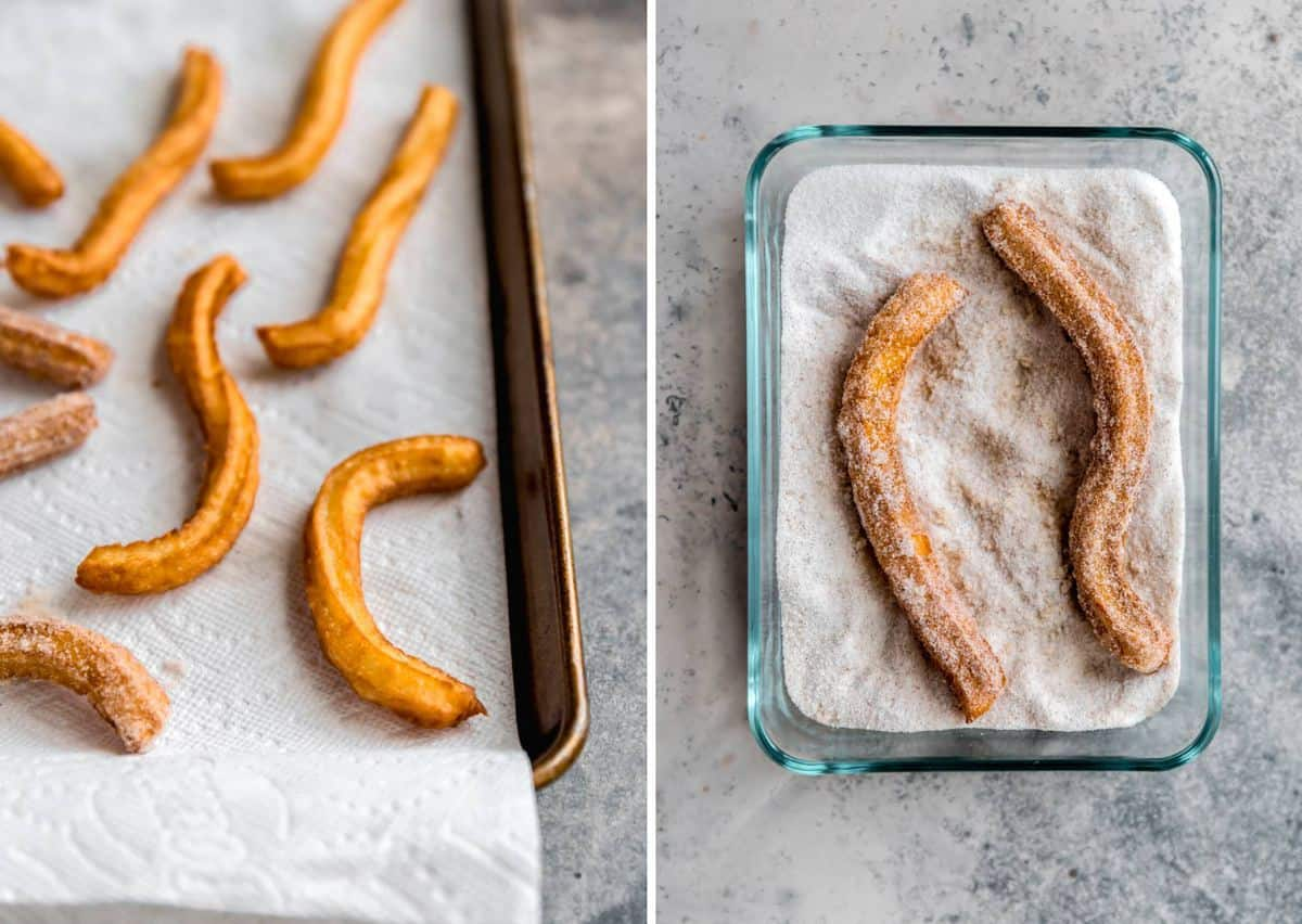 Fried churros on a paper-towel lined baking sheet on the left and a shallow glass container with cinnamon sugar coated churros on the right.