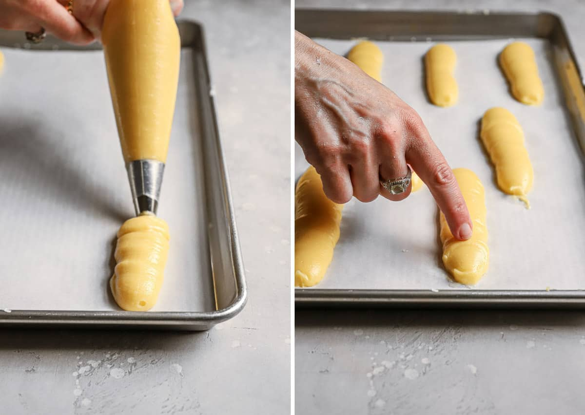 Side by side photos of how to pipe the pastry cream and how to pat down the eclairs.