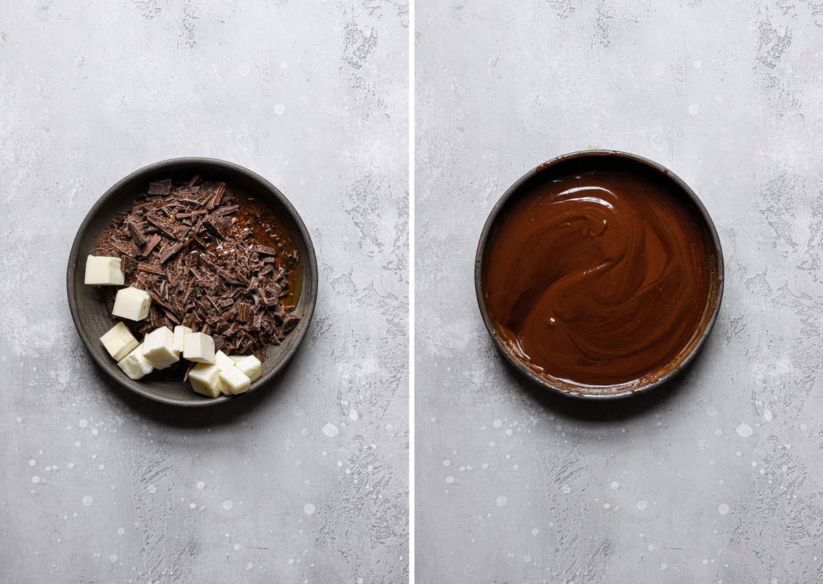 Side by side photos of the chocolate glaze before melting on the left and after melting on the right.