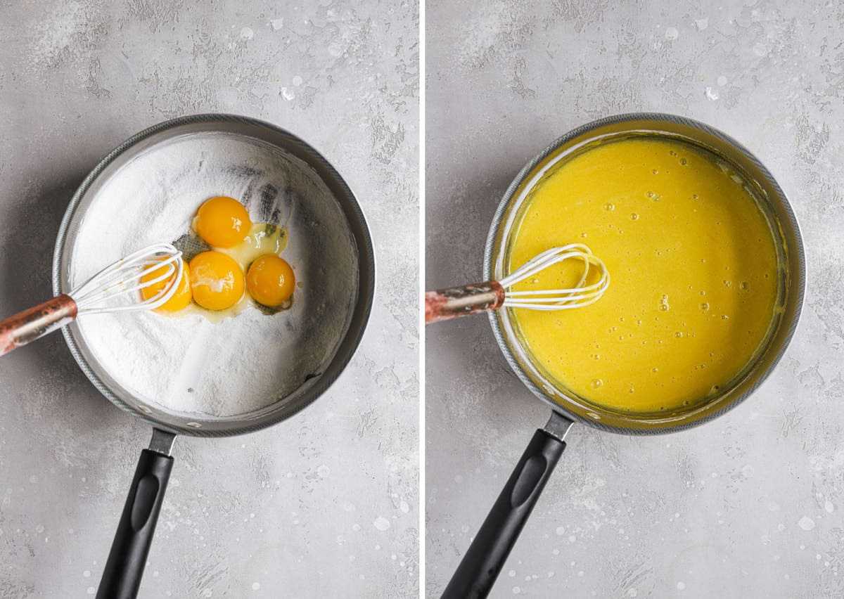 Side by side photos of a saucepan with the unmixed egg yolks on the left and mixed egg yolks on the right.