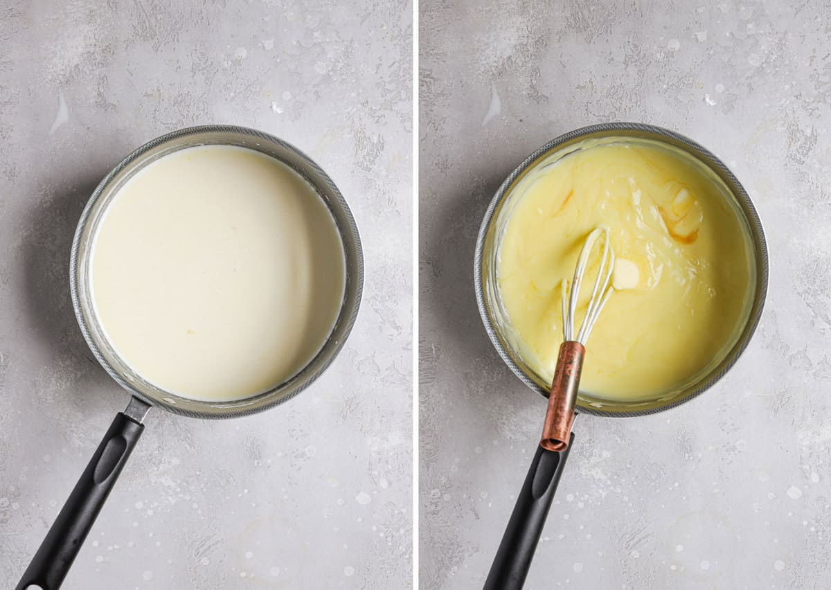 Side by side photos of the pastry cream in a sauce pan before thickening on the left and after thickening on the right.