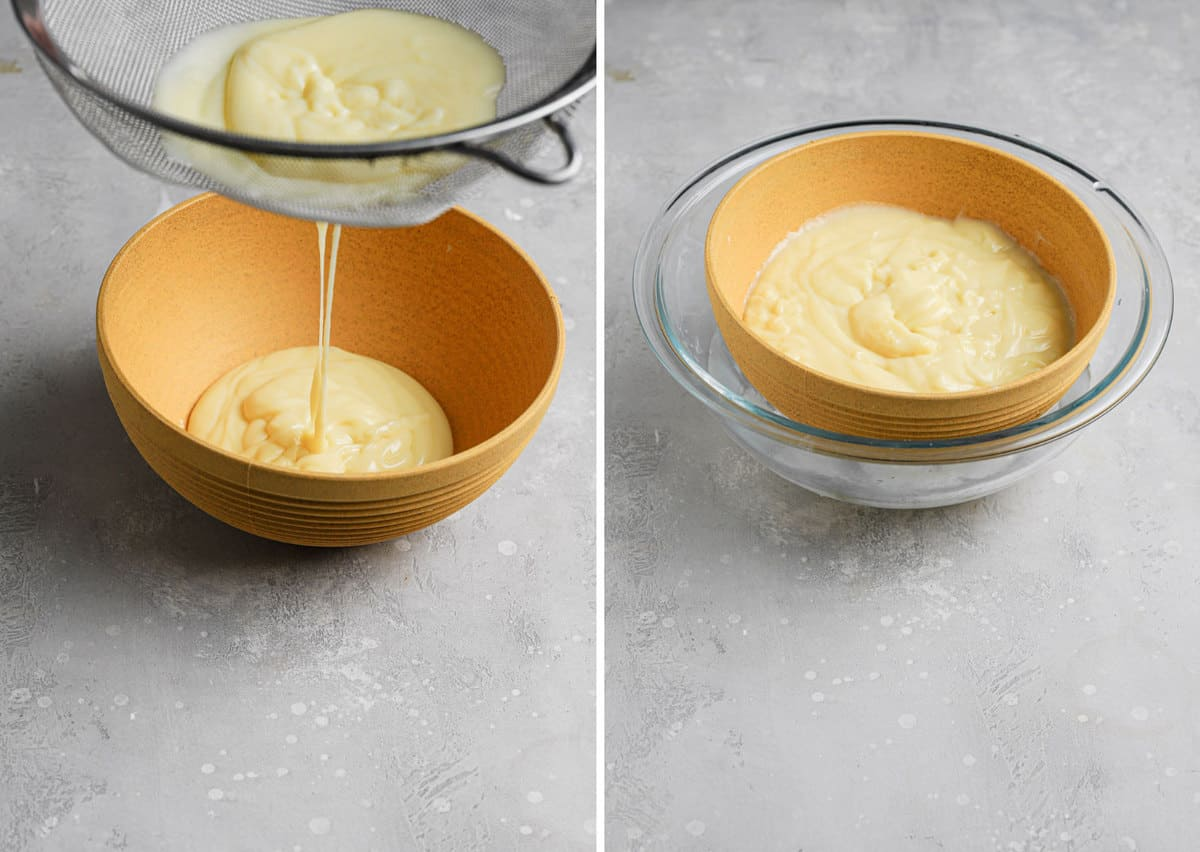 Side by side photos of running the crème pâtissière through a sieve on the left and cooling in an ice bath on the right.