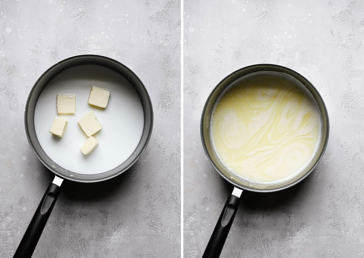 Melting milk and butter in a saucepan.