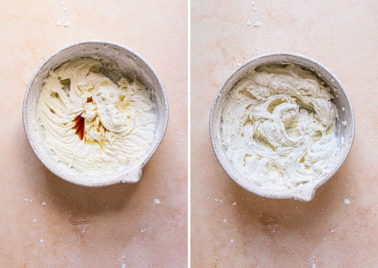 Side by side photos of vanilla buttercream frosting in bowls with vanilla being added on the left and after heavy whipping on the right.