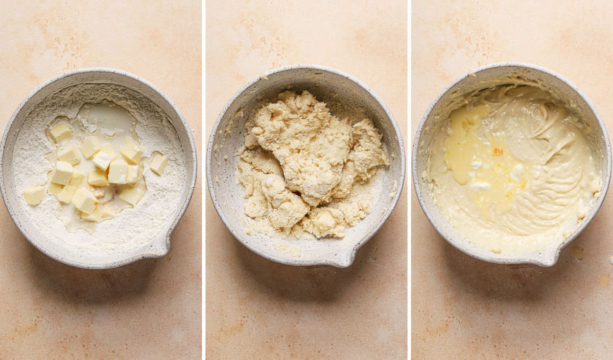 Three side by side images of bowls with vanilla cupcake batter being made.