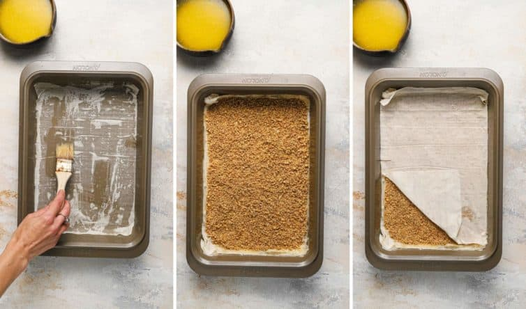 Three side by side photos of buttering, layering, and making the baklava.