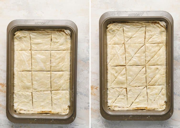 Side by side photos of baklava in a baking pan getting cut.