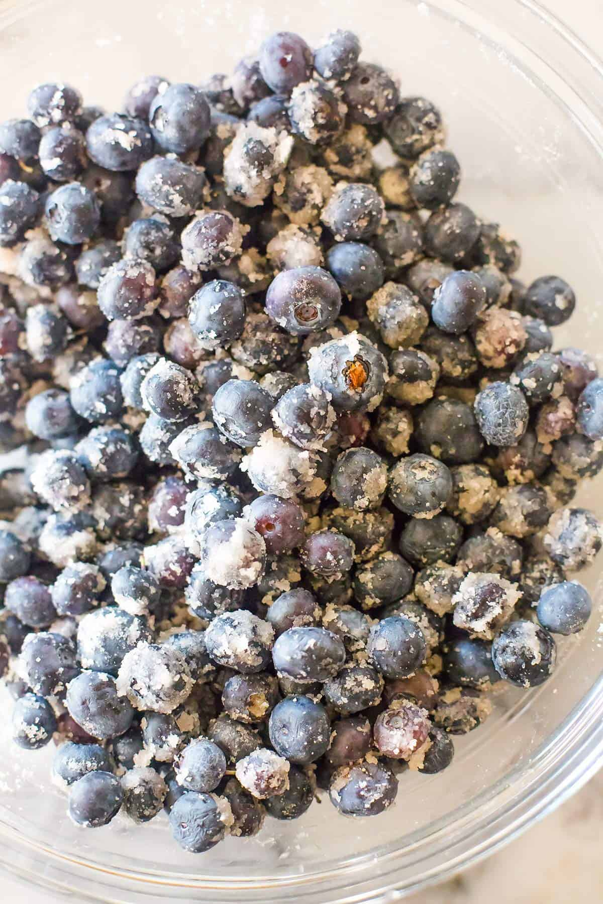 Blueberries tossed with sugar and lemon juice.