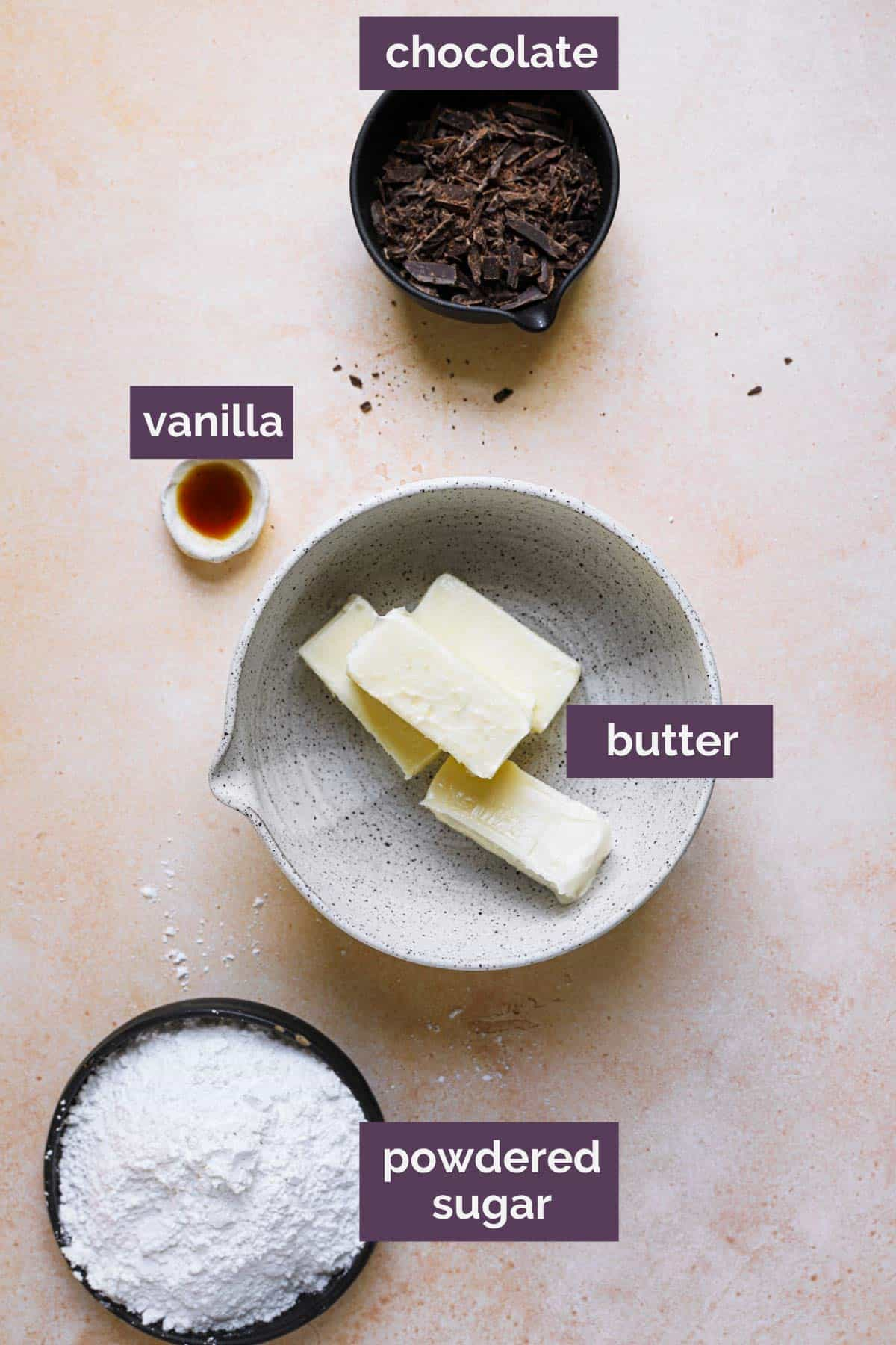 A top down photo of the ingredients for chocolate cake frosting with purple labels.