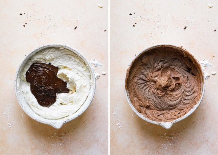 Two bowls side by side mixing up the chocolate icing.