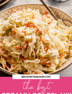 A white bowl of coleslaw with a silver spoon and a pink rectangle at the bottom that says the best creamy coleslaw in white.
