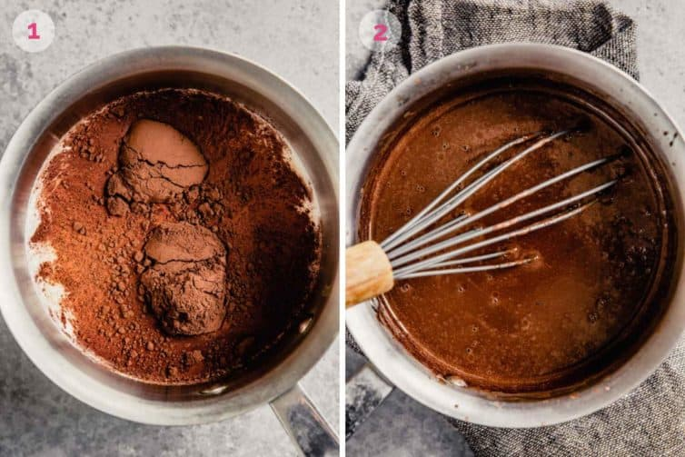 Two side by side photos of mixing the cocoa with the cream and melting the chopped chocolate into the sauce pan.