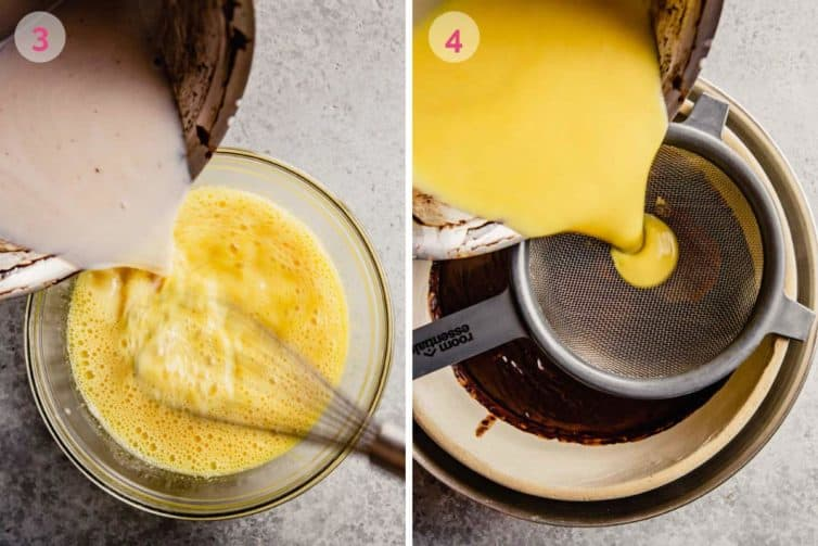 Side by side photos of tempering the eggs and straining into the chocolate mixture.